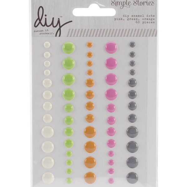 DIY Enamel Dots Embellishments 60/Pkg-Pink, Green & Orange