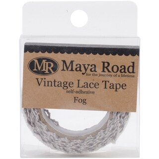Maya Road Vintage Fabric Lace Tape .75inX6.5'-Fog