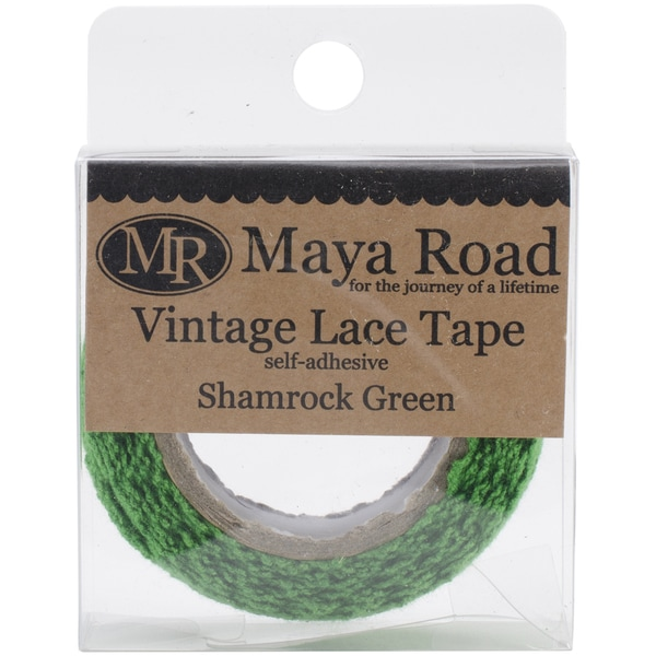 Maya Road Vintage Fabric Lace Tape .75inX6.5'-Shamrock Green
