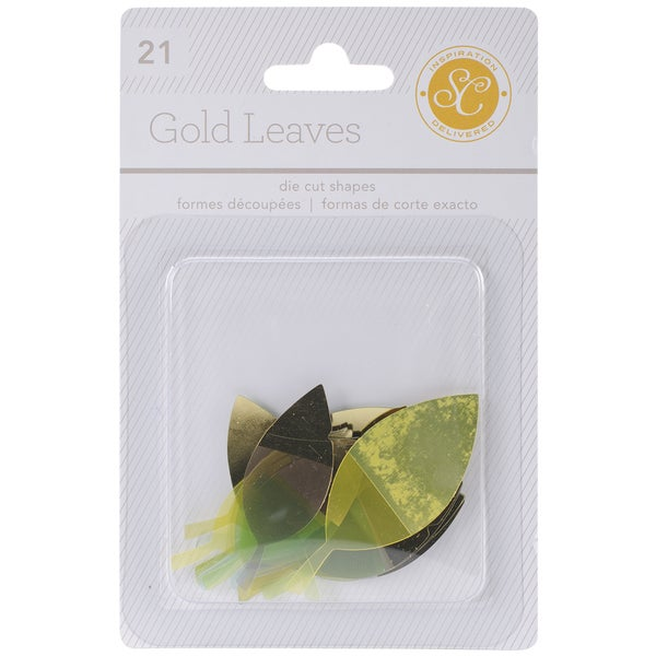Lemonlush Die-Cut Cardstock Leaves 21/Pkg-W/Gold Foil