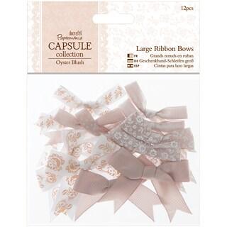 Papermania Oyster Blush Large Ribbon Bows 12/Pkg