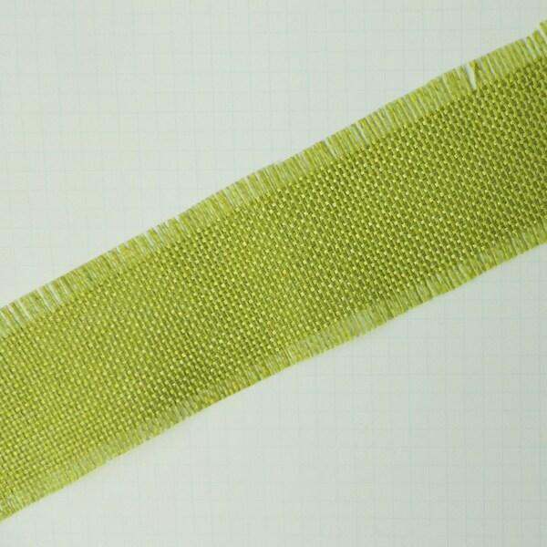 Vintage Linen Burlap Trim 1.7inX25yd -Lime