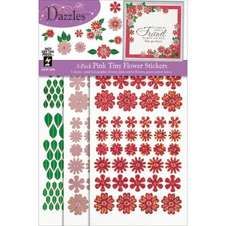 Dazzles Stickers 3/Pkg-Pink Tiny Flowers