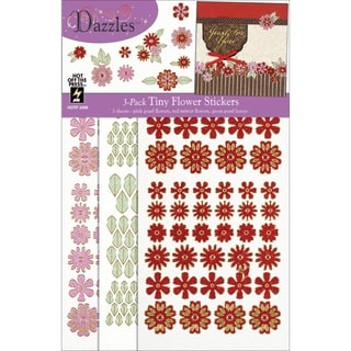 Dazzles Stickers 3/Pkg-Red Tiny Flowers