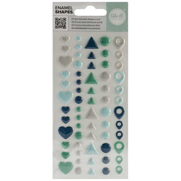 Enamel Dots & Shapes-Cool Shapes, 64/Pkg