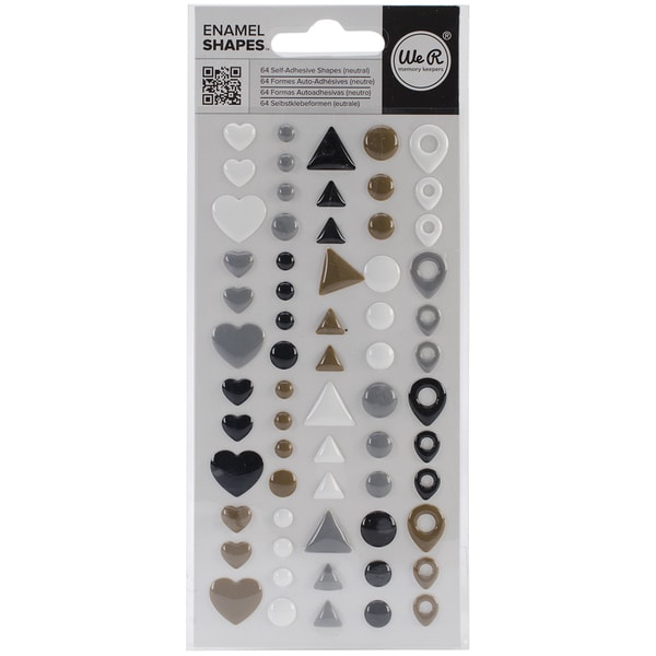 Enamel Dots & Shapes-Neutral Shapes, 64/Pkg