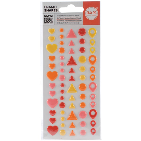 Enamel Dots & Shapes-Warm Shapes, 64/Pkg
