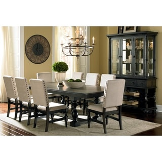 Loraine Trestle Beige Linen Nailhead-trim Dining Set