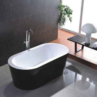 Freestanding 67-inch White and Black Acrylic Bathtub