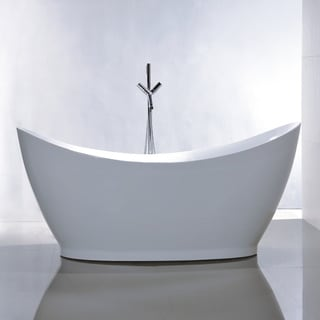 Vanity Art Freestanding 67-inch Double Slipper Style White Acrylic Bathtub with Bonus Faucet