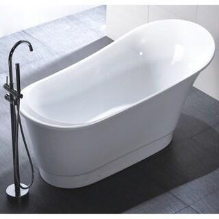 Vanity Art Freestanding 67-inch Slipper Style White Acrylic Bathtub