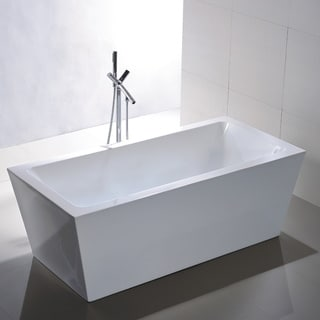 Vanity Art Freestanding 67-inch Rectangular White Acrylic Bathtub with Bonus Faucet