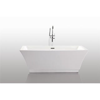 Vanity Art Freestanding 67-inch Rectangular Style White Acrylic Bathtub with Bonus Faucet