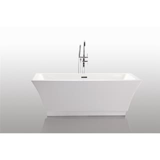 Vanity Art Freestanding 67-inch Rectangular Style White Acrylic Bathtub