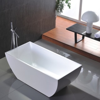 Vanity Art Freestanding 67-inch White Acrylic Bathtub with Bonus Faucet