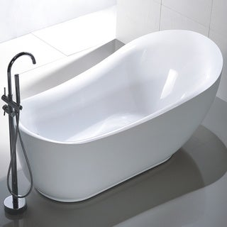 Vanity Art Freestanding 71-inch Slipper Style White Acrylic Bathtub with Bonus Faucet