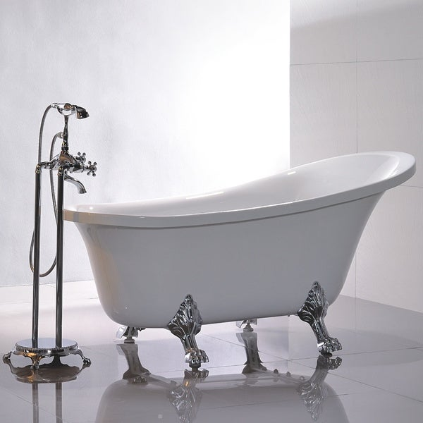 Freestanding 69 Inch Claw Foot White Acrylic Bathtub