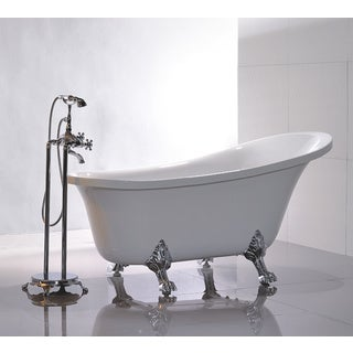 Vanity Art Freestanding 69-inch Claw Foot White Acrylic Bathtub with Bonus Faucet