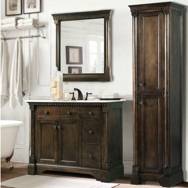 Carrara White Marble Top 36 Inch Bathroom Vanity Coffee