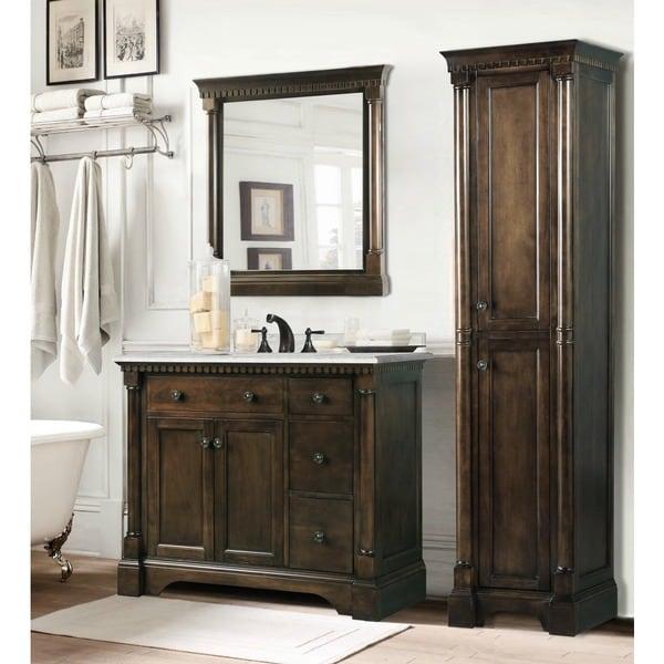 Carrara White Marble Top 36 Inch Bathroom Vanity Coffee Bean 3 Piece Set 16364930 Overstock