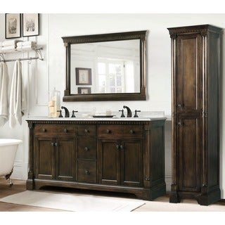 Carrara White Marble Top 60-inch Double Sink Coffee Bean Bathroom Vanity 3-piece Set