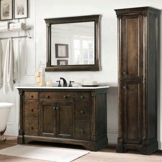 Carrara White Marble Top 48-inch Coffee Bean 3-piece Bathroom Vanity Set