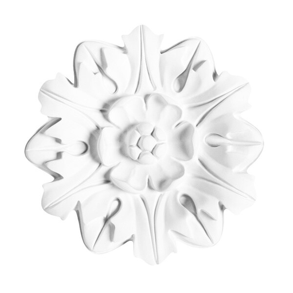 White Primed 8-inch Decorative Rose Medallion