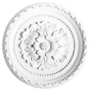 White Primed 12-inch Decorative Rose Medallion