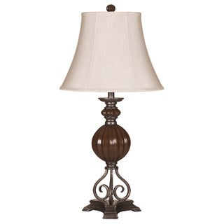Signature Design by Ashley Olsa Pewter and Wood Poly Table Lamps (Set of 2)