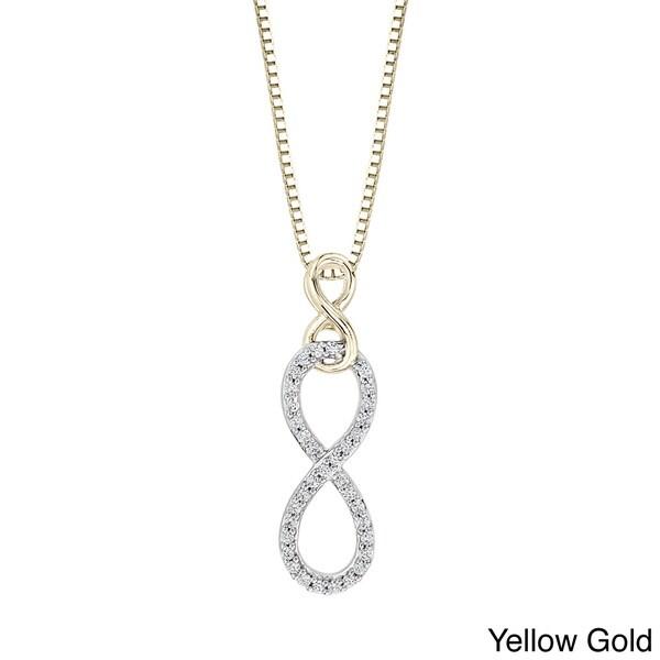 10k White Gold 1/10ct TDW Diamond Pendant Infinity Necklace (J-K, I1-I2)