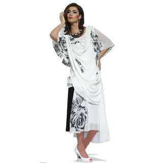 Women's Black and White Colorblocked Tunic and Skirt Set