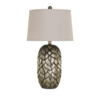 Signature Design by Ashley Sharalin Antique Silvertone Poly Table Lamps (Set of 2)