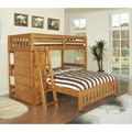 Honey Stained Twin-over Full Loft Bed with 6-drawer Chest