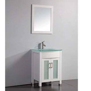 White Finish Tempered Glass Top 24-inch Bathroom Vanity with Matching Framed Mirror and Faucet