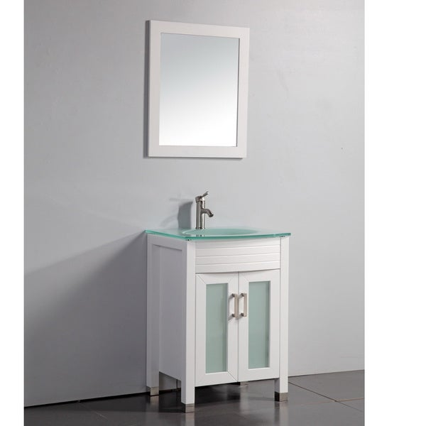 white finish tempered glass top 24 inch bathroom vanity with matching
