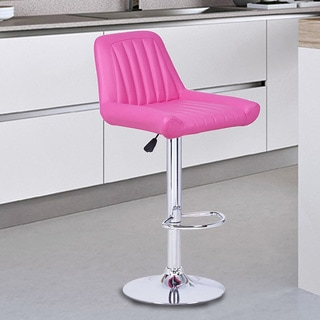 Adeco Hot Pink Hydraulic Lift Adjustable Leatherette Barstool w/ Vertical Tufting, Chrome Pedestal Base (Set of 2)