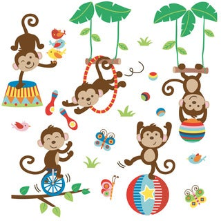 Under the Tree Top Monkeys Peel & Stick Kids Room/ Nursery Wall Decal for Boys & Girls