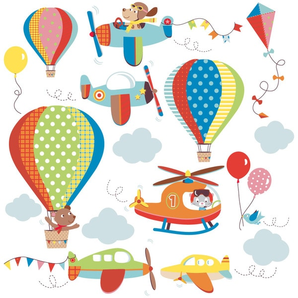 High Flying Airplanes Peel & Stick Kids Room/ Nursery Wall Decal for Boys & Girls 13283062