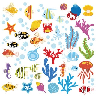 Ocean Wonders Under the Sea Peel & Stick Kids Room/ Nursery Wall Decal for Boys & Girls