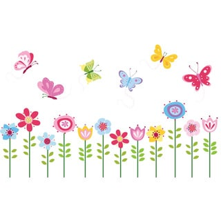 Bright Butterfly Garden Peel & Stick Kids Room/ Nursery Wall Decal for Boys & Girls
