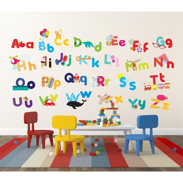 whimsical alphabet peel stick kids room nursery wall