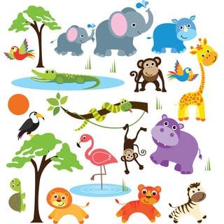 Safari Adventure Jungle Peel & Stick Kids Room/ Nursery Wall Decal for Boys & Girls