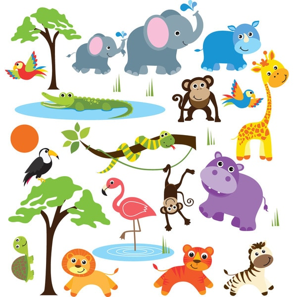 Safari Adventure Jungle Peel & Stick Kids Room/ Nursery Wall Decal for Boys & Girls