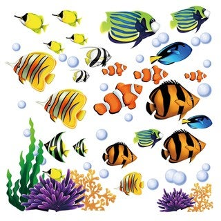 Bright Coral Reef Fish Peel & Stick Kids Room/ Nursery Wall Decal for Boys & Girls