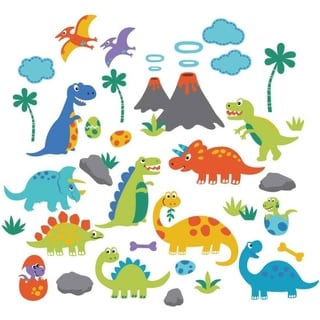 Dino Friends Peel & Stick Kids Room Wall Decal for Boys & Girls
