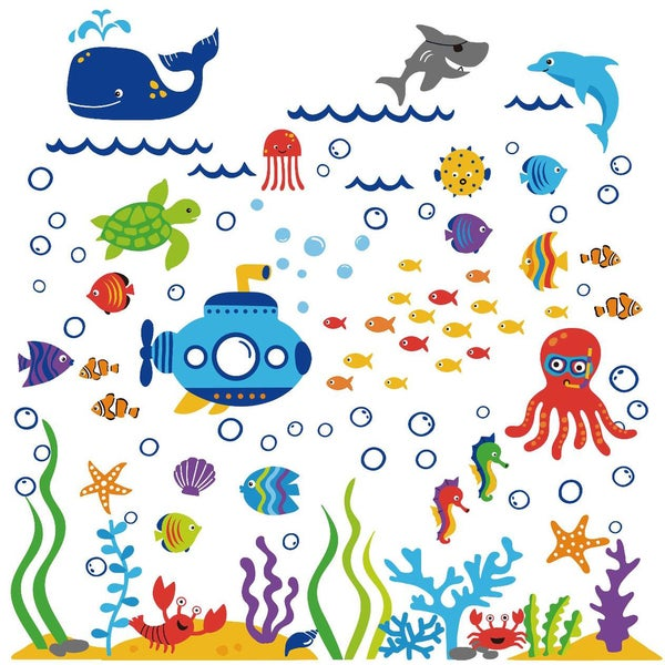 The Deep Blue Sea Peel & Stick Kids Room Wall Decal for Boys & Girls