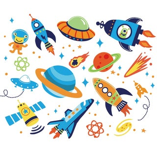 Super Space Explorer Peel & Stick Kids Room Wall Decal for Boys & Girls