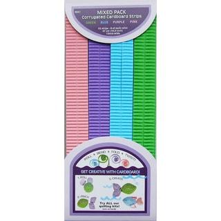 Quilling Paper Corrugated 18.5inX10mm 32/Pkg-Blue, Green & Purple