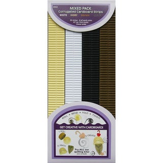 Quilling Paper Corrugated 18.5inX10mm 32/Pkg-Brown, Ivory & White