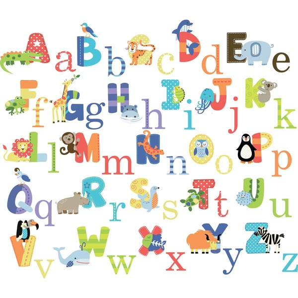 Animals Alphabet Peel & Stick Kids Room/ Nursery Wall Decal for Boys & Girls 13283250